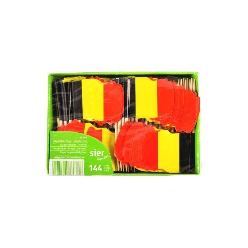 Sier pics (cure-dents) drapeau belge 144 pcs Chockies
