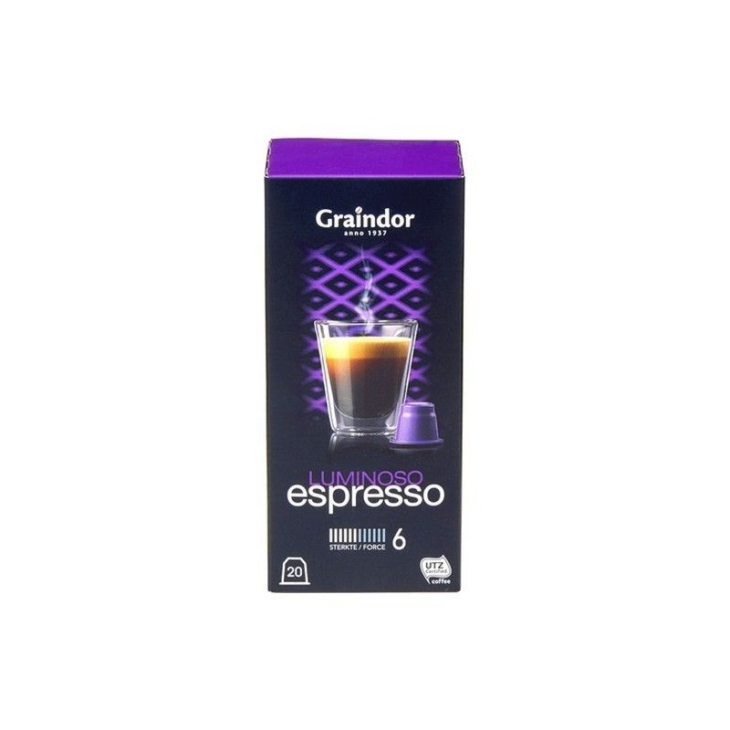 Graindor café Espresso Luminoso 20 capsules CHOCKIES