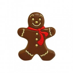 Gingerbread man in decorated milk chocolate